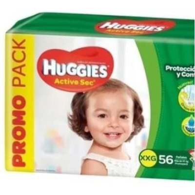 Pañal Huggies Active Sec Familiar Xxgx56